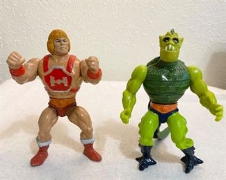 """He-Man"" Thunder Punch vintage figure, Mattel 1980's (back piece is missing). ""Whiplash"" vintage figure. (2) $16"