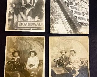 "Real Photo Post Cards (RPCC) - Early ""1900's"" - Ladies at the Boardwalk, Pike's Peak Railway, Studio photo Ladies in horseless carriage, Studio photo couple in a horseless carriage. (Lot of 4) $30"