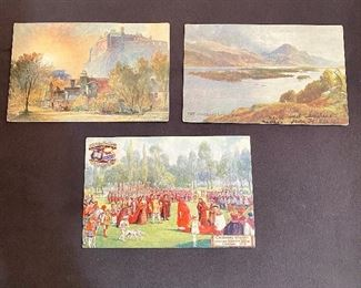 "Tuck's Post Cards - Bottom is ""Oxford Pageant"" Ser. II # 9517, dates 1907, Top left is ""Edinburgh Castle"" #7293, Top right is ""The Highlands"" Bonnie Scotland, #7349, postmarked 1905 with stamp. (Lot of 3) $4"