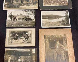 "Real Photo Post Cards (RPPC) Lot of 4. Photograph from ""1930"" of house and car, two cabinet card photos, man standing and house with produce field. (Lot of 7) $18"