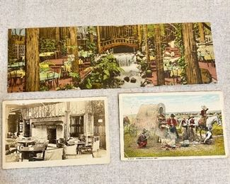 "Postcards - Top is from ""Dr. Camp's Brookdale Lodge"", Santa Cruz Mountains. Center left is ""Smoking Room"". Center right is ""Cowboys at Breakfast"" by Fred Harvey, postmarked ""1926"".  (3) $6"