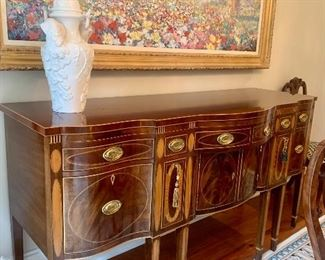"""Kindel Winterthur Collection mahogany sideboard 75"""" wide by 26"""" deep by 40"""" tall"""