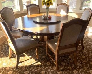 6 ft round table (with lazy-Susan) & 6 chairs