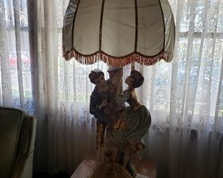 "Vintage 53""Tall  1960's Limited Edition Azzolin French Provincial colonial couple table lamp with original shade $595"