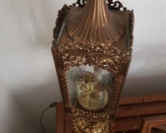 "Gothic church sanctuary style Solid brass & glass filigree 3 light table lamp 23""H x 5.25"" x 5.25"" $250"