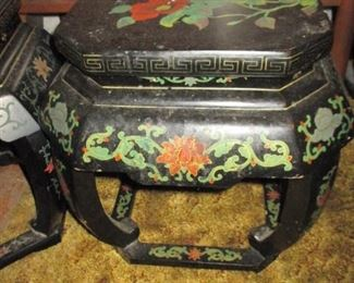 Chinese Black Lacquer Hand-Painted Garden Stool/Table