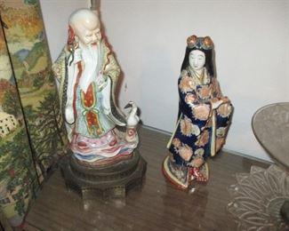 Chinese Antique  Porcelain Figure Of God Of Longevity with Vintage Porcelain Kutani Smiling Geisha Woman  Hand-Painted Statue