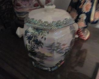 Hand-Painted Vintage Asian Lidded Pot