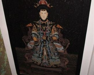 Antique Art Chinese Reverse Painted Glass Portrait Imperial Empress