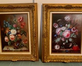 """CLEARANCE!  $100.00 NOW, WAS $250.00..............Pair Floral Oil Paintings Beautiful Frames  24"""" x 19"""" (B535)"""