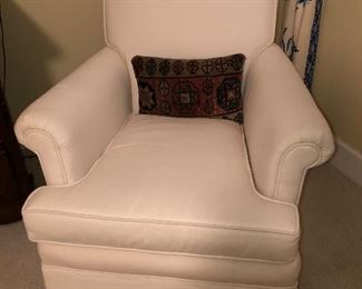Solid white upholstered club chair. Immaculate condition