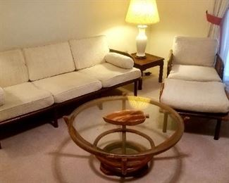 3 piece Fisks Reed rattan set..sofa, chair and footstool