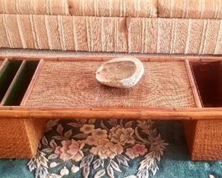Rattan midcentury coffee table