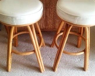 Pair of rattan Bar stools