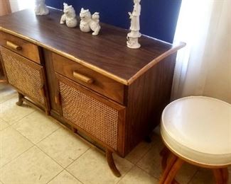 Vintage rattan and whicker small server