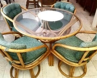 Vintage Bentwood rattan matching table and four chairs