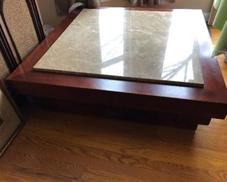 Wood end table with marble insert
