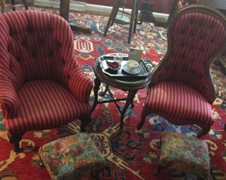 Nice Vintage Chairs with Matching Fabric, plus 2 matching Fabric Vintage foot stools.