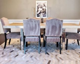 "table: 30""h x 87""w x 35""d. chairs (6): 39""h x 20""w x 21""d. rug: 8' x 10'"