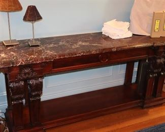Console Table, Marble Top Table, Lamps