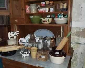 Hoosier Cabinet Crockery Vintage Kitchen Items