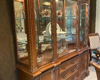 Lexington Lighted China Cabinet, 3 Drawer, 2 Cabinet, 4 Glass Doors with Glass Shelves, 6' W x 7'H x 19D