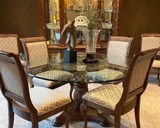 """Lexington Dining Table and Chairs. 5"""" Round Glass Dining Table on Pedestal Base, 2 Arm, 4 Side Upholstered Chairs"""