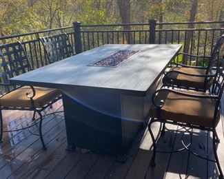 AVAILABLE FOR PRESALE!   SOLD! O. W. Lee Black Rock Dining Fire Pit Table 42 X 72...4-O. W. Lee Old World Collection Arm chairs $1,998.00.