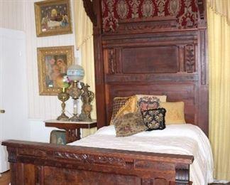 90 - Victorian Walnut Eastlake Half Tester Bed with Burl Trim, 110T, 53W, 72L