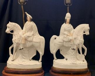 $160 - Pair Vintage Staffordshire Porcelain Scottish Horsemen Lamps
