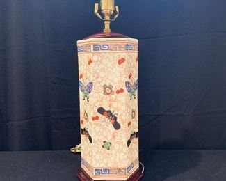 "$95 - Asian Inspired Porcelain Lamp - 15"" high and is 6"" wide"