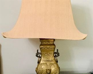 "$295 - Vintage Hu Form brass lamp in the style of James Mont with silk shade.  32""H.  Base 7"" x 7""."