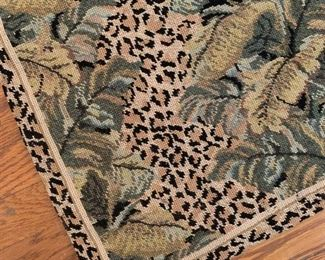 $600; Jungle Motif Needlepoint Rug.  Approx 9' x 12'.