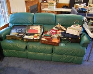 Leather Lazy Boy Sofa,  3 salesman Sample cases