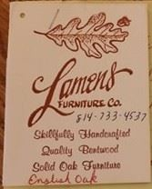Lamens Furniture Co. ~ manufacturer of many of the oak pieces featured at this sale.  Quality Bentwood manufacturers.