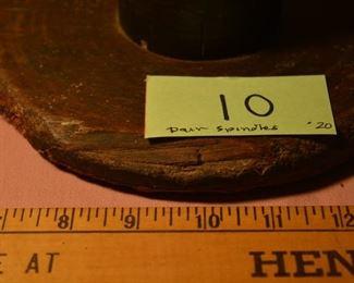 "Pair 11"" and 13"" primitive wood spools"