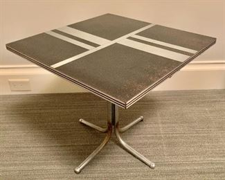 "$125: Vintage laminate and metal SIDE table, 18.5"" H x 20"" W x 20"" D"
