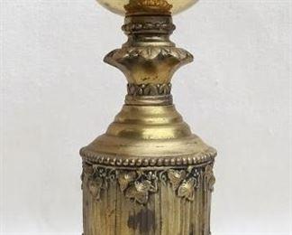 "$60 Mantel ornament, ornate brass-finished metal, originally had green felt on the bottom.  H: 14""    base diameter: 5"" [Bin 43]"