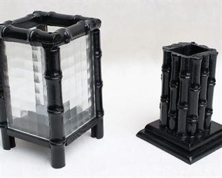"""$30 Left: Lantern, clear pressed glass & black wood, bamboo motif, 4 feet, for single tea light.  W: 5""""   H: 8""""   D: 5""""  $20 Right: Vase for dried flowers, black-painted wood, bamboo motif.  W: 5""""   H: 6""""   D: 5"""" [Bin 43]"""