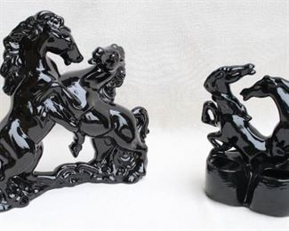 """$30 Left: Two black ceramic horses fighting with each other.  W: 13""""   H: 13""""   D: 5""""  $25 Right: Double planter of 2 red-eyed black ceramic horses fighting w/ each other.  W: 9""""   H: 9.5""""   D: 4.5"""" [Bin 41]"""