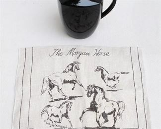 "$10 Upper: Black ceramic squarish pitcher.  W: 9""   H: 7.5""   D: 6"" $10 Lower: Beige linen tea towel w/ dark gray horse drawings, ""The Morgan Horse"".  L: 29.5""   W: 16.5"".  AS IS: slightly stained [Bin 40]"