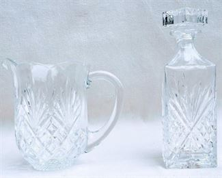 """$20 Right: Pressed glass square decanter.  W: 3.5""""   H: 10.5""""   D: 3.5"""".  Matches pressed glass round pitcher  - 2 available $20 Left: Pressed glass round pitcher.  L: 9""""   H: 8""""    diameter: 6"""".   Matches pressed glass square decanter - 2 available [Bin 40]"""