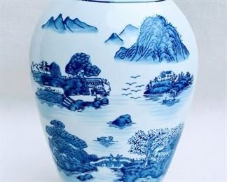 """$45 Vase, blue & white ceramic, landscape scenes.  Formalities by Baum Bros, made in China.  W: 5""""   H: 14""""   D: 4.5"""" [Bin 38]"""