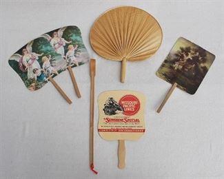 "LOT $25 Set of 4 Vintage paper fans w/ pictures and/or advertisements.  L: 13""   W: 7.5""  Top center: Vintage palm fan.  L: 14""   W: 12""  Left center: Bamboo back scratcher.  L: 17""   W: 1"" [Bin 38]"