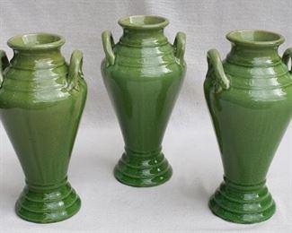 "$30 each - Green ceramic vases, two ceramic handles, slightly crackled glaze.  H: 12.5""   diameter: 6.5"" - 2 available [Props]"