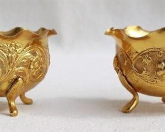 """$40 pair Set of 2 repoussé brass bowls on 3 feet, fluted top edge.  H: 2""""   diameter: 3""""  [Bin 38]"""