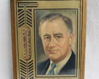"""$35 Thermometer in frame w/ portrait of FDR, cord for hanging.  W: 5""""   H: 7""""   D: 0.5"""" [Bin 38]"""