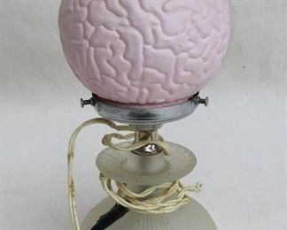 "$60 Boudoir lamp, frosted pressed glass base, pink spherical ""brain"" globe, silver mounts.  H: 11""      diameter: 5"" [Furniture]"