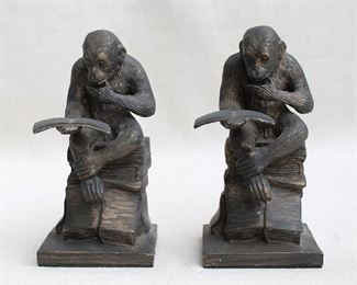 """$40 - Set of 2 bookends, dark cast metal, reading chimpanzees sitting on a stack of books.  L: 4.5""""   W: 3.5""""   H: 8"""" [Bin 38]"""