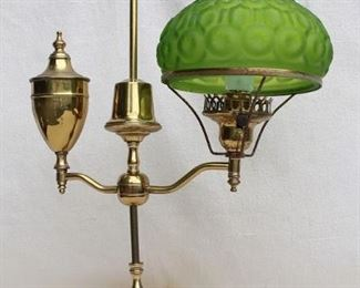 """$75 Brass-finish lamp w/ green pressed glass shade, Argand lamp style, knob switch at base of bulb.  W: 14""""   H: 25""""      Shade diameter: 8.5"""" [Furniture]"""